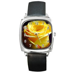 Yellow Rose Curling Square Leather Watch