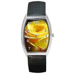 Yellow Rose Curling Tonneau Leather Watch