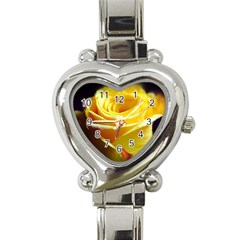 Yellow Rose Curling Heart Italian Charm Watch