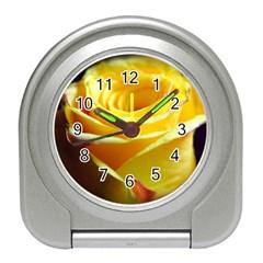 Yellow Rose Curling Desk Alarm Clock