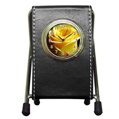 Yellow Rose Curling Stationery Holder Clock