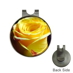 Yellow Rose Curling Hat Clip With Golf Ball Marker