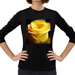 Yellow Rose Curling Women s Long Sleeve T Shirt (dark Colored)