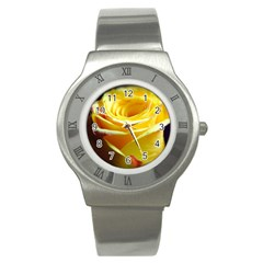 Yellow Rose Curling Stainless Steel Watch (Slim)