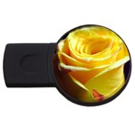 Yellow Rose Curling 4GB USB Flash Drive (Round) Front
