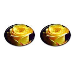 Yellow Rose Curling Cufflinks (oval)