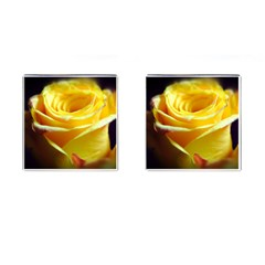 Yellow Rose Curling Cufflinks (Square)