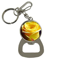 Yellow Rose Curling Bottle Opener Key Chain