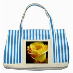 Yellow Rose Curling Blue Striped Tote Bag