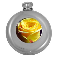 Yellow Rose Curling Hip Flask (Round)