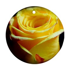 Yellow Rose Curling Round Ornament (two Sides)