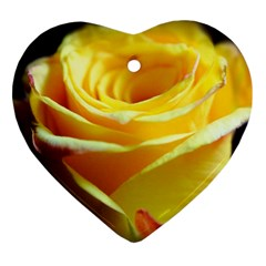 Yellow Rose Curling Heart Ornament (Two Sides)