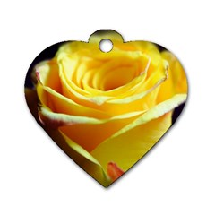 Yellow Rose Curling Dog Tag Heart (Two Sided)