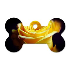 Yellow Rose Curling Dog Tag Bone (Two Sided)