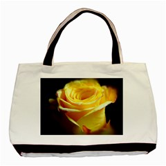 Yellow Rose Curling Twin-sided Black Tote Bag