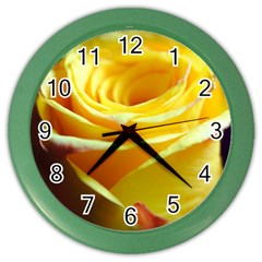 Yellow Rose Curling Wall Clock (Color)