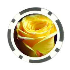Yellow Rose Curling Poker Chip