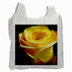 Yellow Rose Curling White Reusable Bag (One Side)