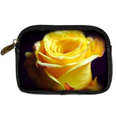 Yellow Rose Curling Digital Camera Leather Case