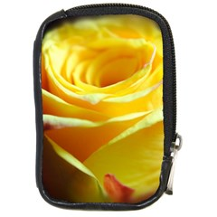 Yellow Rose Curling Compact Camera Leather Case