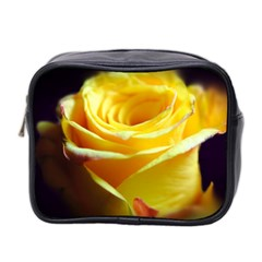 Yellow Rose Curling Mini Travel Toiletry Bag (Two Sides)