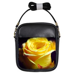 Yellow Rose Curling Girl s Sling Bag
