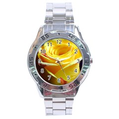 Yellow Rose Curling Stainless Steel Watch