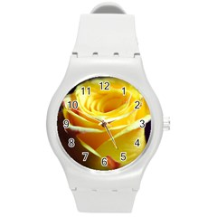 Yellow Rose Curling Plastic Sport Watch (medium)