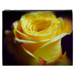 Yellow Rose Curling Cosmetic Bag (XXXL)