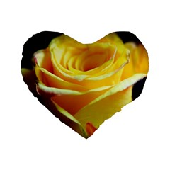 Yellow Rose Curling 16  Premium Heart Shape Cushion