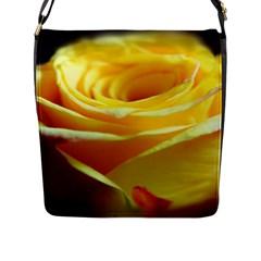 Yellow Rose Curling Flap Closure Messenger Bag (Large)