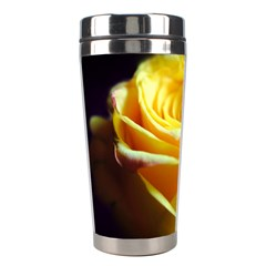 Yellow Rose Curling Stainless Steel Travel Tumbler