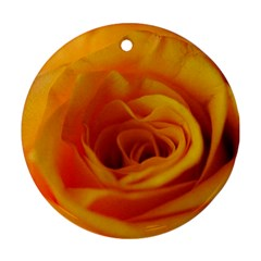 Yellow Rose Close Up Round Ornament
