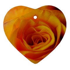 Yellow Rose Close Up Heart Ornament