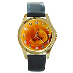Yellow Rose Close Up Round Leather Watch (Gold Rim)