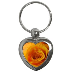 Yellow Rose Close Up Key Chain (Heart)