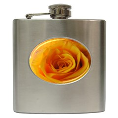 Yellow Rose Close Up Hip Flask