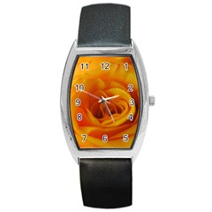 Yellow Rose Close Up Tonneau Leather Watch