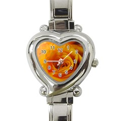 Yellow Rose Close Up Heart Italian Charm Watch