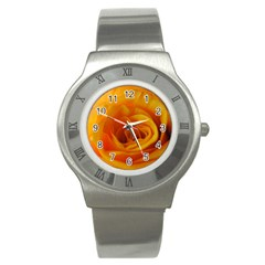 Yellow Rose Close Up Stainless Steel Watch (slim)