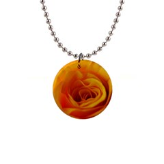 Yellow Rose Close Up Button Necklace