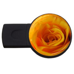 Yellow Rose Close Up 4gb Usb Flash Drive (round)