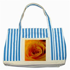 Yellow Rose Close Up Blue Striped Tote Bag