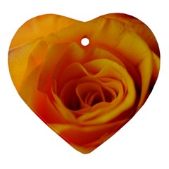 Yellow Rose Close Up Heart Ornament (Two Sides)