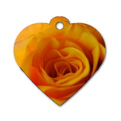 Yellow Rose Close Up Dog Tag Heart (One Sided)