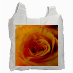 Yellow Rose Close Up White Reusable Bag (One Side)