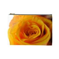 Yellow Rose Close Up Cosmetic Bag (large)