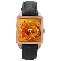 Yellow Rose Close Up Rose Gold Leather Watch