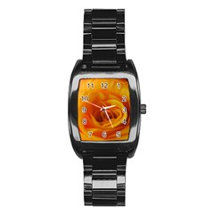Yellow Rose Close Up Stainless Steel Barrel Watch