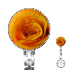 Yellow Rose Close Up Stainless Steel Nurses Watch